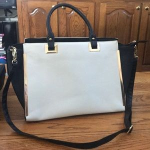 Black and White Satchel with gold hardware.